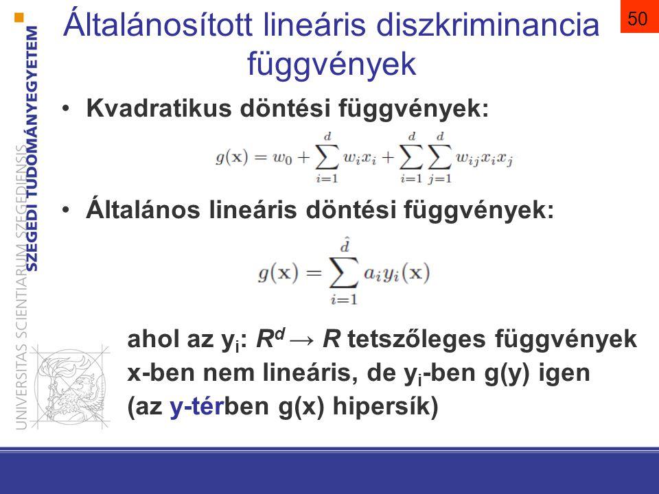50 Általánosított lineáris diszkriminancia függvények Kvadratikus döntési függvények: Általános lineáris döntési függvények: ahol az y i : R d → R tet