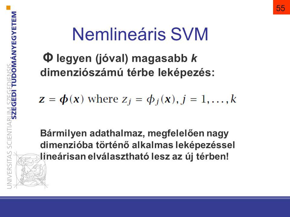 Φ legyen (jóval) magasabb k dimenziószámú térbe leképezés: Bármilyen adathalmaz, megfelelően nagy dimenzióba történő alkalmas leképezéssel lineárisan