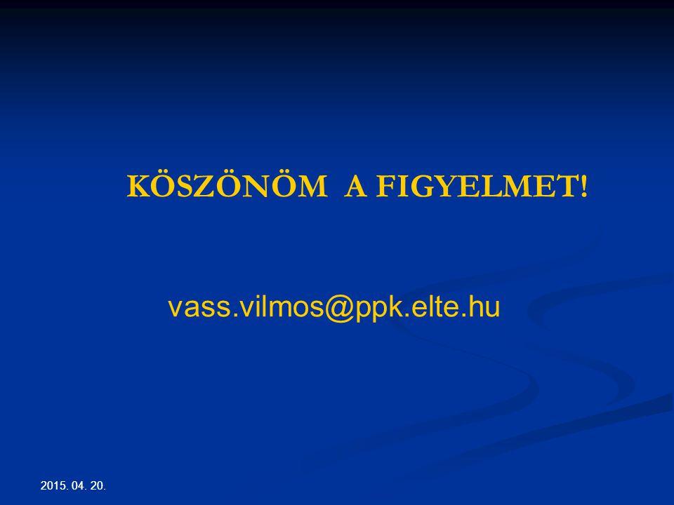 KÖSZÖNÖM A FIGYELMET! vass.vilmos@ppk.elte.hu