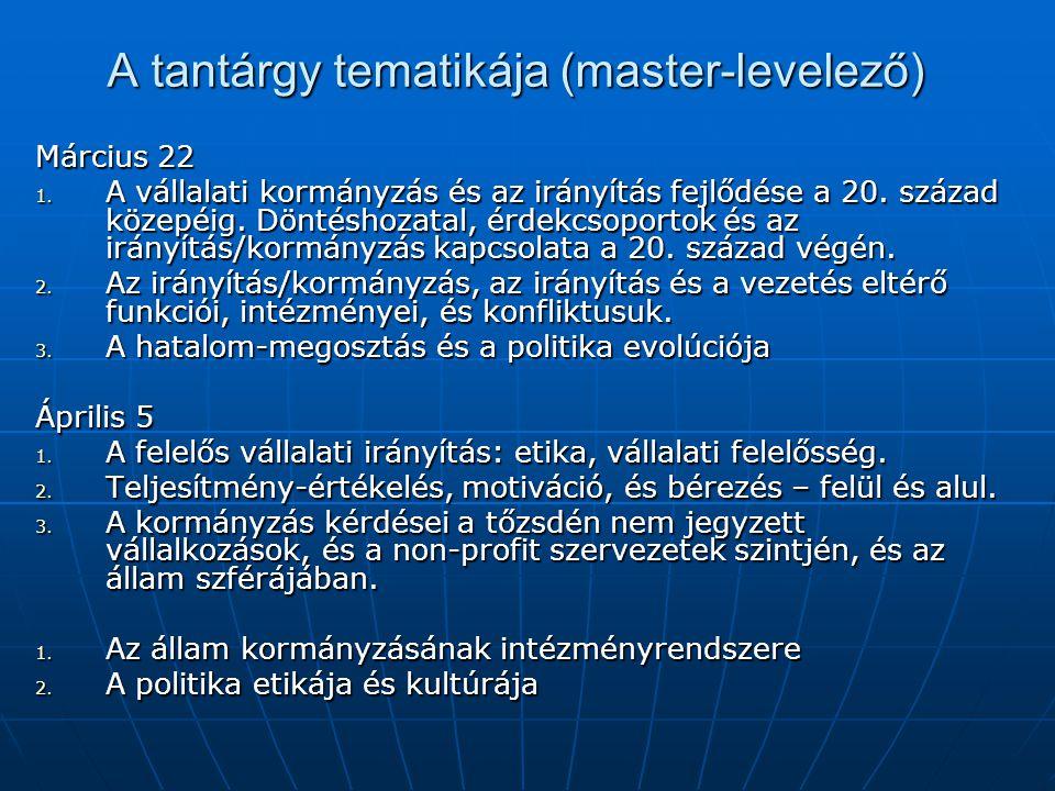 A tantárgy tematikája (master-levelező) Március 22 1.