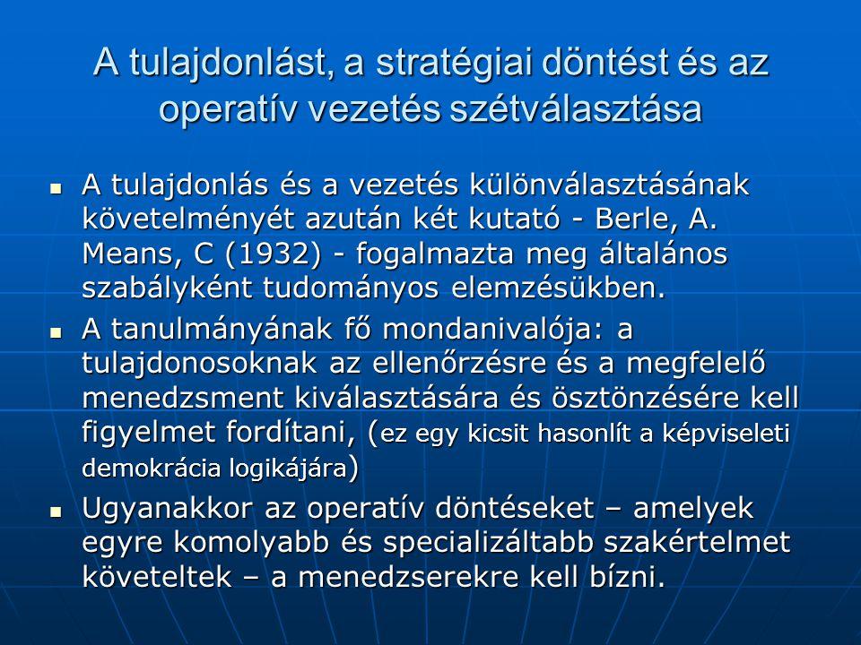 A tulajdonlást, a stratégiai döntést és az operatív vezetés szétválasztása A tulajdonlás és a vezetés különválasztásának követelményét azután két kutató - Berle, A.