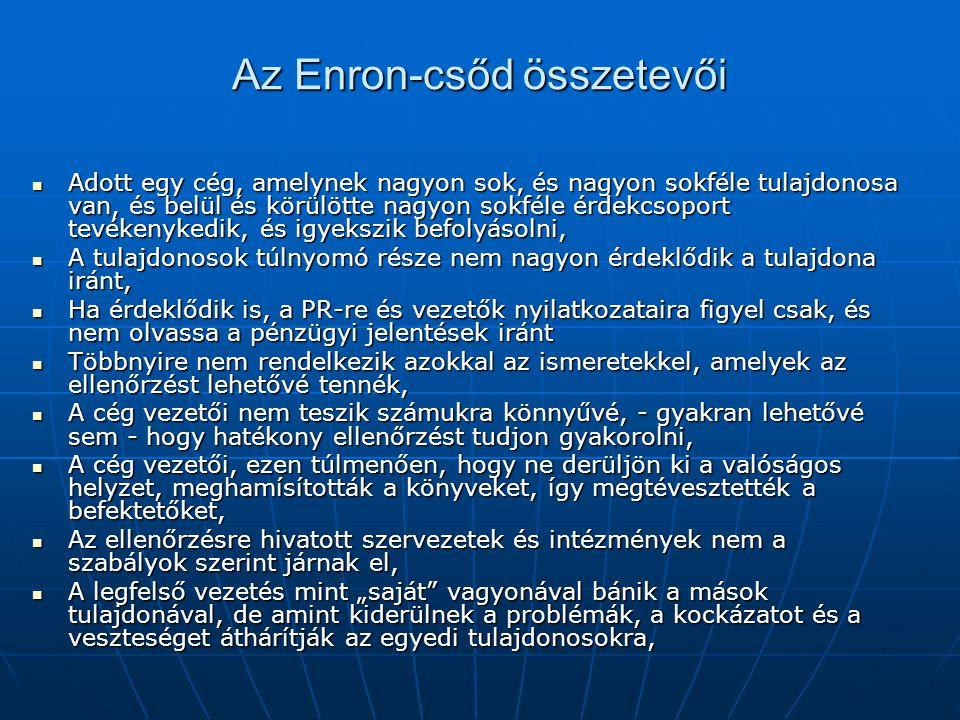"""Az Enron-csőd összetevői Adott egy cég, amelynek nagyon sok, és nagyon sokféle tulajdonosa van, és belül és körülötte nagyon sokféle érdekcsoport tevékenykedik, és igyekszik befolyásolni, Adott egy cég, amelynek nagyon sok, és nagyon sokféle tulajdonosa van, és belül és körülötte nagyon sokféle érdekcsoport tevékenykedik, és igyekszik befolyásolni, A tulajdonosok túlnyomó része nem nagyon érdeklődik a tulajdona iránt, A tulajdonosok túlnyomó része nem nagyon érdeklődik a tulajdona iránt, Ha érdeklődik is, a PR-re és vezetők nyilatkozataira figyel csak, és nem olvassa a pénzügyi jelentések iránt Ha érdeklődik is, a PR-re és vezetők nyilatkozataira figyel csak, és nem olvassa a pénzügyi jelentések iránt Többnyire nem rendelkezik azokkal az ismeretekkel, amelyek az ellenőrzést lehetővé tennék, Többnyire nem rendelkezik azokkal az ismeretekkel, amelyek az ellenőrzést lehetővé tennék, A cég vezetői nem teszik számukra könnyűvé, - gyakran lehetővé sem - hogy hatékony ellenőrzést tudjon gyakorolni, A cég vezetői nem teszik számukra könnyűvé, - gyakran lehetővé sem - hogy hatékony ellenőrzést tudjon gyakorolni, A cég vezetői, ezen túlmenően, hogy ne derüljön ki a valóságos helyzet, meghamísították a könyveket, így megtévesztették a befektetőket, A cég vezetői, ezen túlmenően, hogy ne derüljön ki a valóságos helyzet, meghamísították a könyveket, így megtévesztették a befektetőket, Az ellenőrzésre hivatott szervezetek és intézmények nem a szabályok szerint járnak el, Az ellenőrzésre hivatott szervezetek és intézmények nem a szabályok szerint járnak el, A legfelső vezetés mint """"saját vagyonával bánik a mások tulajdonával, de amint kiderülnek a problémák, a kockázatot és a veszteséget áthárítják az egyedi tulajdonosokra, A legfelső vezetés mint """"saját vagyonával bánik a mások tulajdonával, de amint kiderülnek a problémák, a kockázatot és a veszteséget áthárítják az egyedi tulajdonosokra,"""
