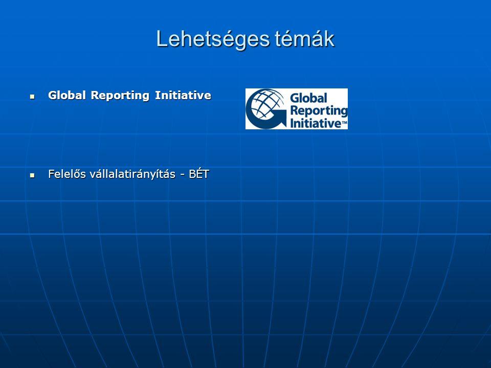 Lehetséges témák Global Reporting Initiative Global Reporting Initiative Felelős vállalatirányítás - BÉT Felelős vállalatirányítás - BÉT