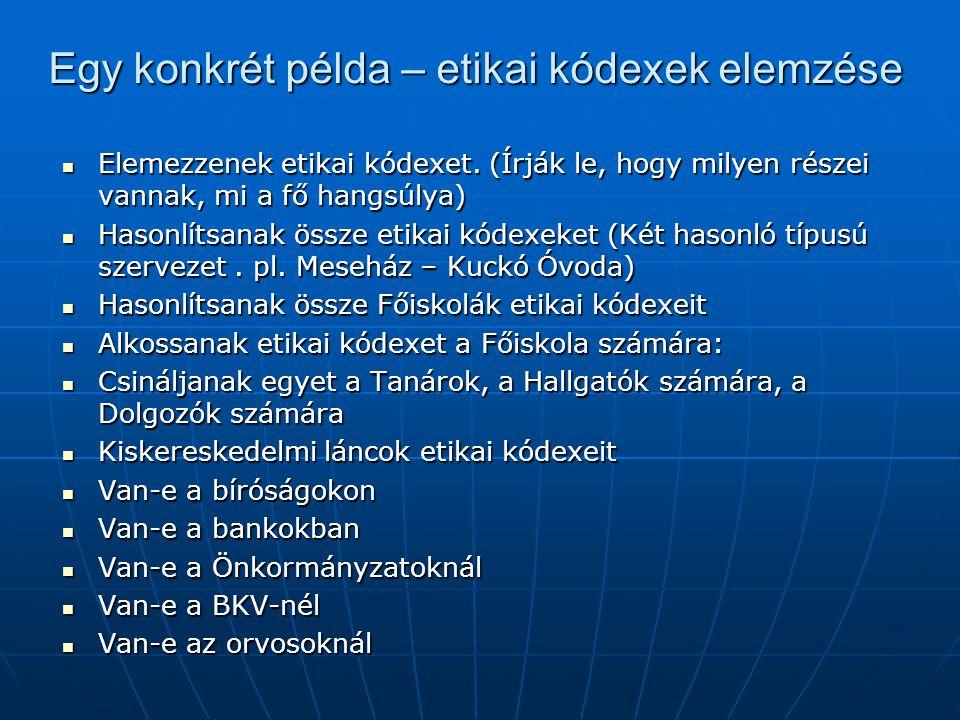 Egy konkrét példa – etikai kódexek elemzése Elemezzenek etikai kódexet.