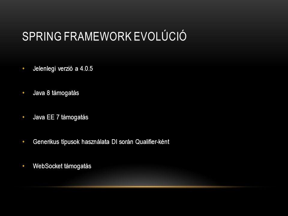 SPRING FRAMEWORK EVOLÚCIÓ Jelenlegi verzió a 4.0.5 Java 8 támogatás Java EE 7 támogatás Generikus típusok használata DI során Qualifier-ként WebSocket