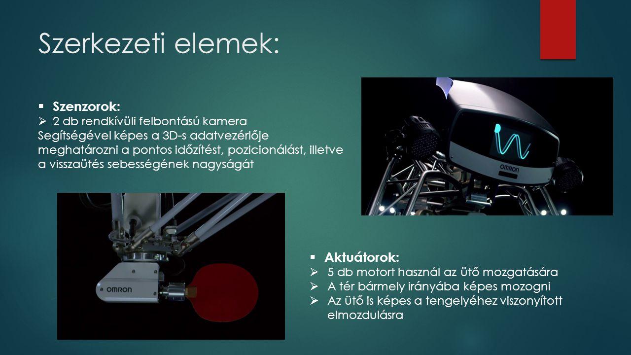 Szerkezeti elemek:  Szenzorok:  2 db rendkívüli felbontású kamera Segítségével képes a 3D-s adatvezérlője meghatározni a pontos időzítést, pozicionálást, illetve a visszaütés sebességének nagyságát  Aktuátorok:  5 db motort használ az ütő mozgatására  A tér bármely irányába képes mozogni  Az ütő is képes a tengelyéhez viszonyított elmozdulásra