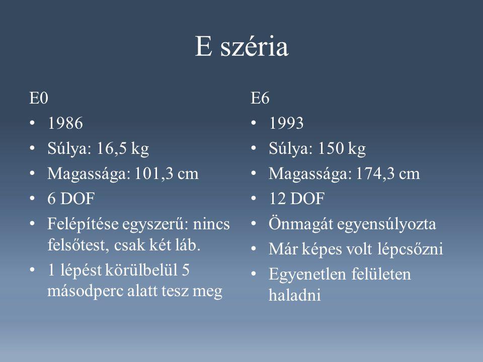 E széria E0 1986 Súlya: 16,5 kg Magassága: 101,3 cm 6 DOF Felépítése egyszerű: nincs felsőtest, csak két láb.