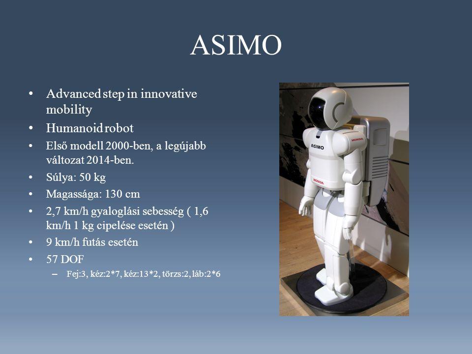 ASIMO Advanced step in innovative mobility Humanoid robot Első modell 2000-ben, a legújabb változat 2014-ben.