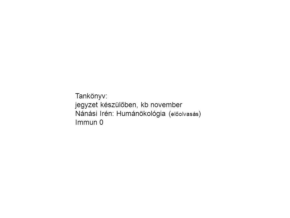 Tankönyv: jegyzet készülőben, kb november Nánási Irén: Humánökológia ( előolvasás ) Immun 0