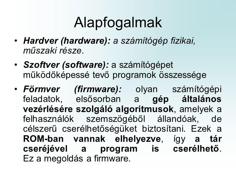 Alapfogalmak Hardver (hardware): a számítógép fizikai, műszaki része. Szoftver (software): a számítógépet működőképessé tevő programok összessége Förm