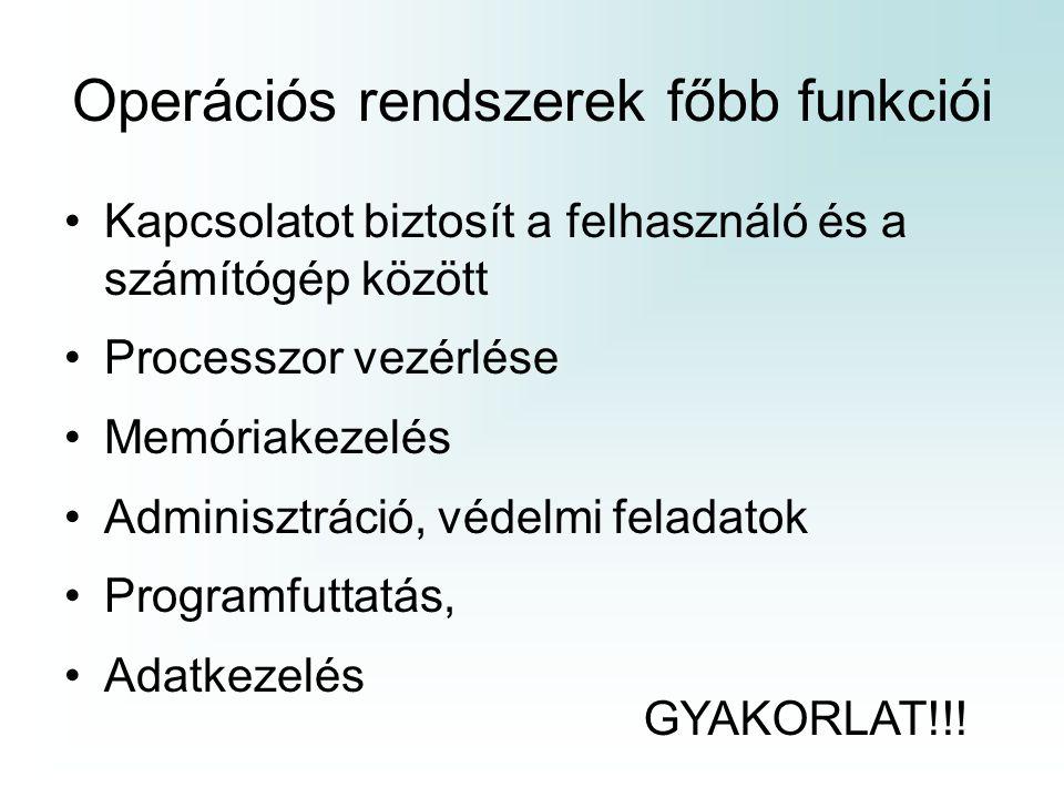Operációs rendszerek főbb funkciói Kapcsolatot biztosít a felhasználó és a számítógép között Processzor vezérlése Memóriakezelés Adminisztráció, védel