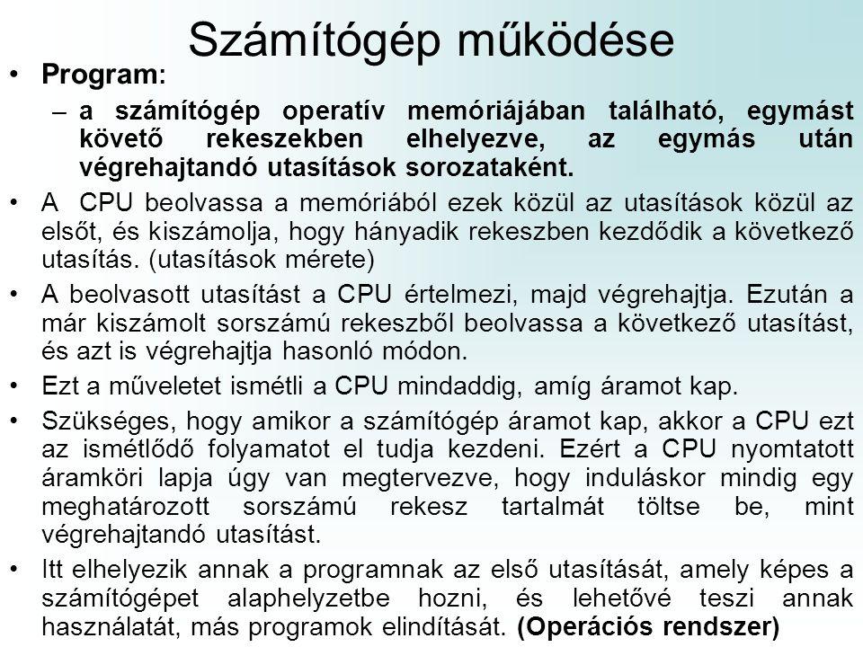 Számítógép működése Program : –a számítógép operatív memóriájában található, egymást követő rekeszekben elhelyezve, az egymás után végrehajtandó utasí