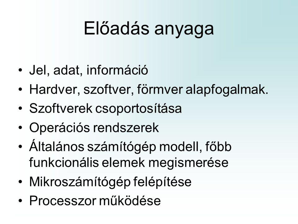 Operációs rendszerek főbb funkciói Kapcsolatot biztosít a felhasználó és a számítógép között Processzor vezérlése Memóriakezelés Adminisztráció, védelmi feladatok Programfuttatás, Adatkezelés GYAKORLAT!!!