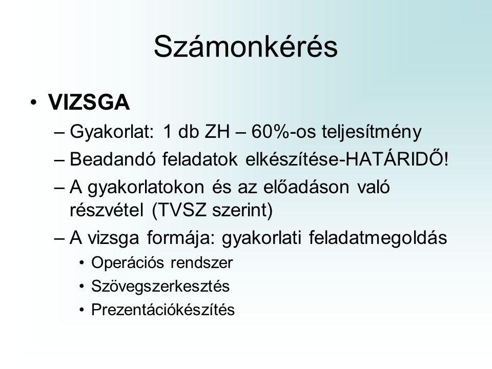 Számonkérés VIZSGA –Gyakorlat: 1 db ZH – 60%-os teljesítmény –Beadandó feladatok elkészítése-HATÁRIDŐ! –A gyakorlatokon és az előadáson való részvétel