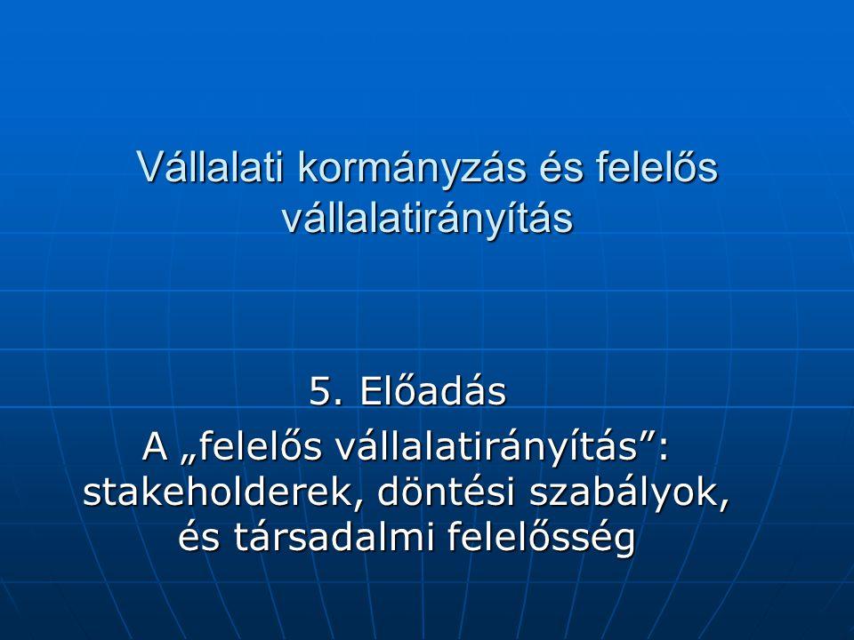 Vállalati kormányzás és felelős vállalatirányítás 5.