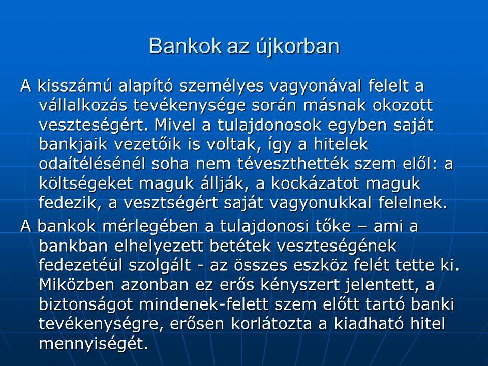 Bankok az újkorban A kisszámú alapító személyes vagyonával felelt a vállalkozás tevékenysége során másnak okozott veszteségért.