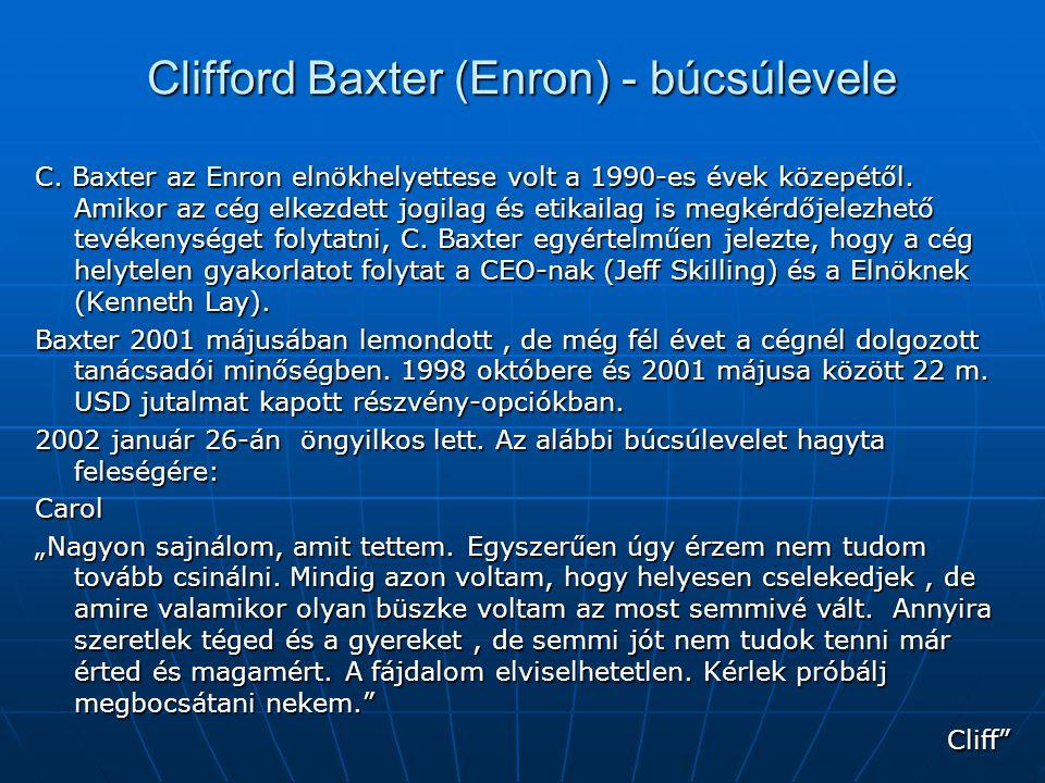 Clifford Baxter (Enron) - búcsúlevele C. Baxter az Enron elnökhelyettese volt a 1990-es évek közepétől. Amikor az cég elkezdett jogilag és etikailag i