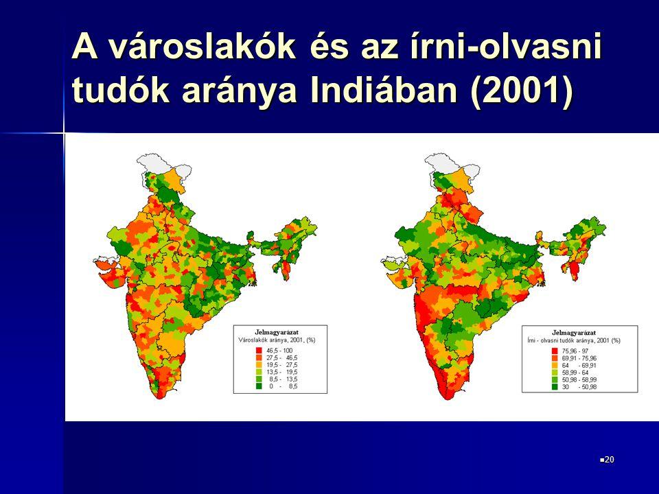 20 20 A városlakók és az írni-olvasni tudók aránya Indiában (2001)
