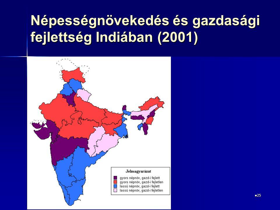25 25 Népességnövekedés és gazdasági fejlettség Indiában (2001)