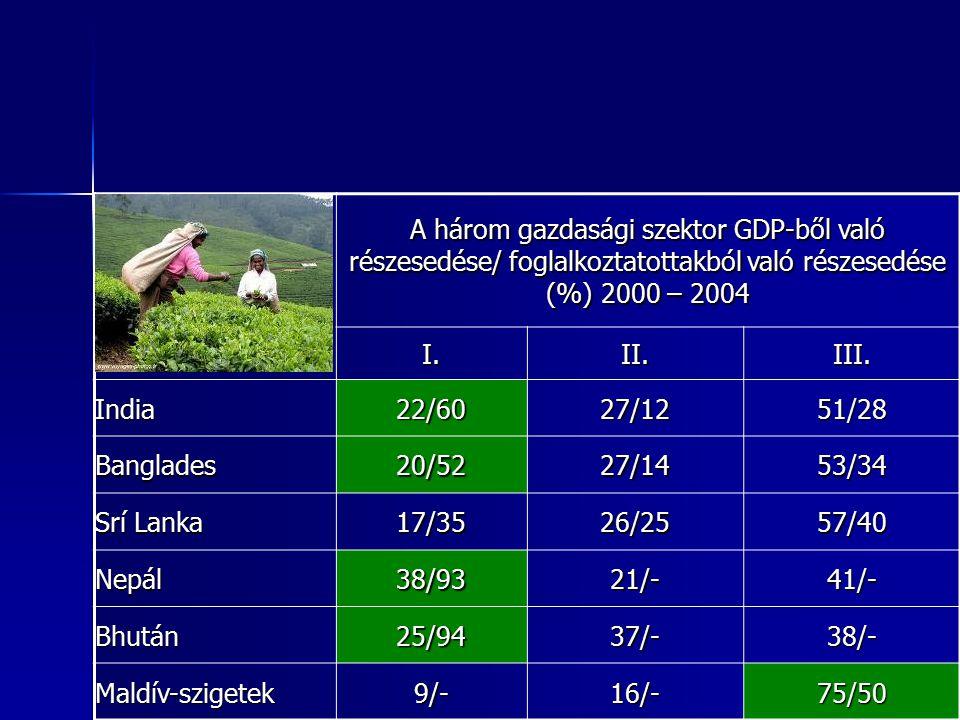 31 31 A három gazdasági szektor GDP-ből való részesedése/ foglalkoztatottakból való részesedése (%) 2000 – 2004 I.II.III. India22/6027/1251/28 Banglad