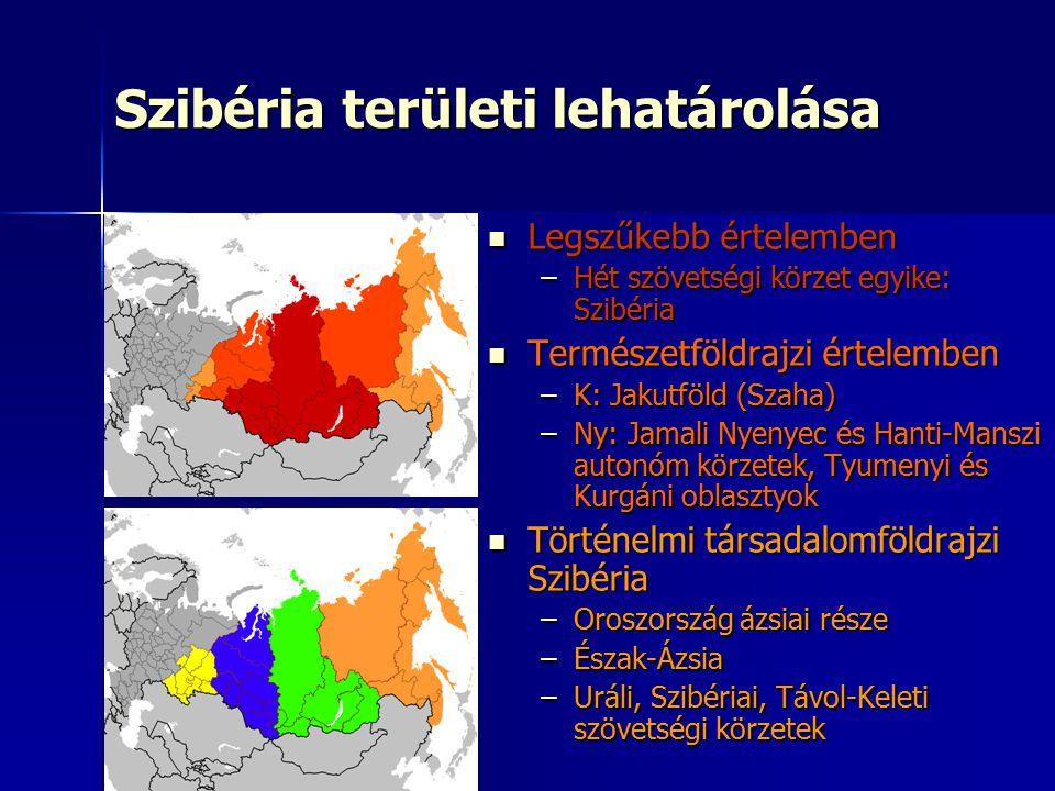 Szibéria területi lehatárolása Legszűkebb értelemben Legszűkebb értelemben –Hét szövetségi körzet egyike: Szibéria Természetföldrajzi értelemben Termé