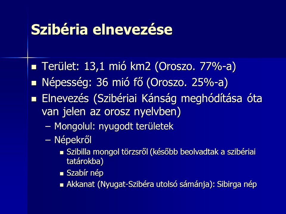 Szibéria elnevezése Terület: 13,1 mió km2 (Oroszo. 77%-a) Terület: 13,1 mió km2 (Oroszo. 77%-a) Népesség: 36 mió fő (Oroszo. 25%-a) Népesség: 36 mió f