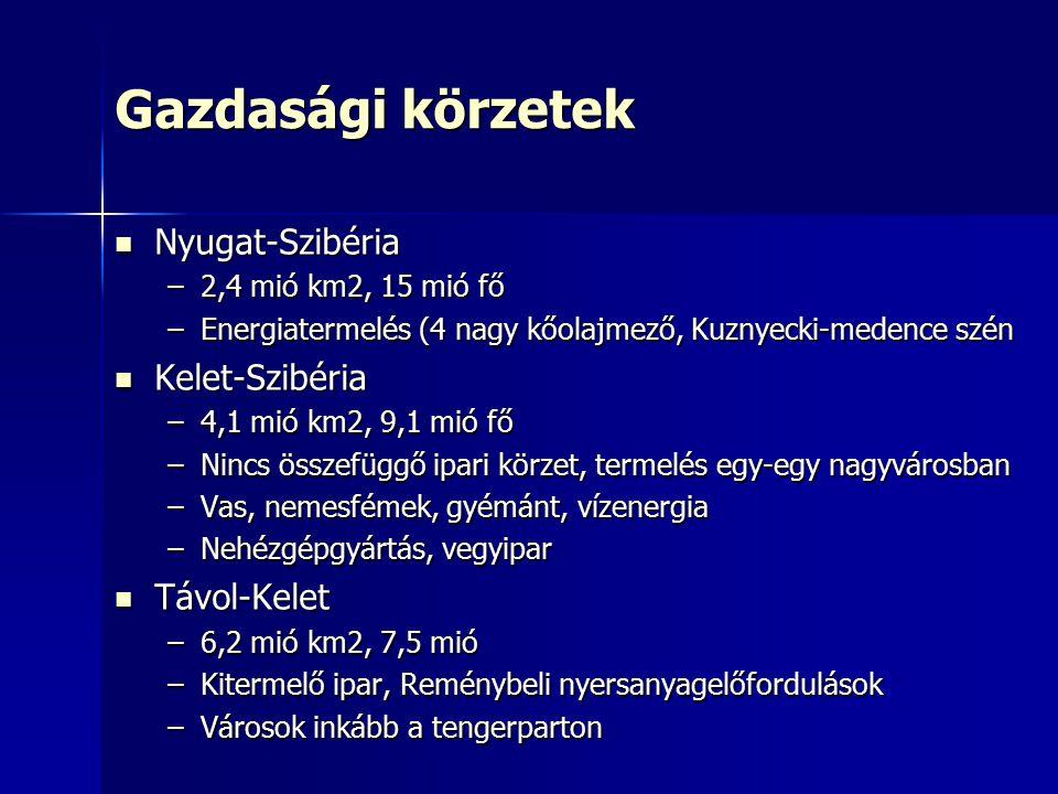 Gazdasági körzetek Nyugat-Szibéria Nyugat-Szibéria –2,4 mió km2, 15 mió fő –Energiatermelés (4 nagy kőolajmező, Kuznyecki-medence szén Kelet-Szibéria