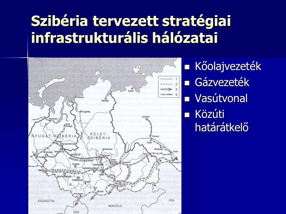 Szibéria tervezett stratégiai infrastrukturális hálózatai Kőolajvezeték Kőolajvezeték Gázvezeték Gázvezeték Vasútvonal Vasútvonal Közúti határátkelő K