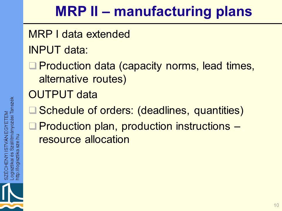 SZÉCHENYI ISTVÁN EGYETEM Logisztikai és Szállítmányozási Tanszék http://logisztika.sze.hu 10 MRP II – manufacturing plans MRP I data extended INPUT data:  Production data (capacity norms, lead times, alternative routes) OUTPUT data  Schedule of orders: (deadlines, quantities)  Production plan, production instructions – resource allocation