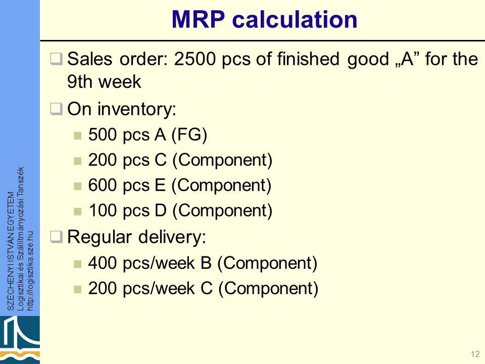"""SZÉCHENYI ISTVÁN EGYETEM Logisztikai és Szállítmányozási Tanszék http://logisztika.sze.hu 12 MRP calculation  Sales order: 2500 pcs of finished good """"A for the 9th week  On inventory: 500 pcs A (FG) 200 pcs C (Component) 600 pcs E (Component) 100 pcs D (Component)  Regular delivery: 400 pcs/week B (Component) 200 pcs/week C (Component)"""