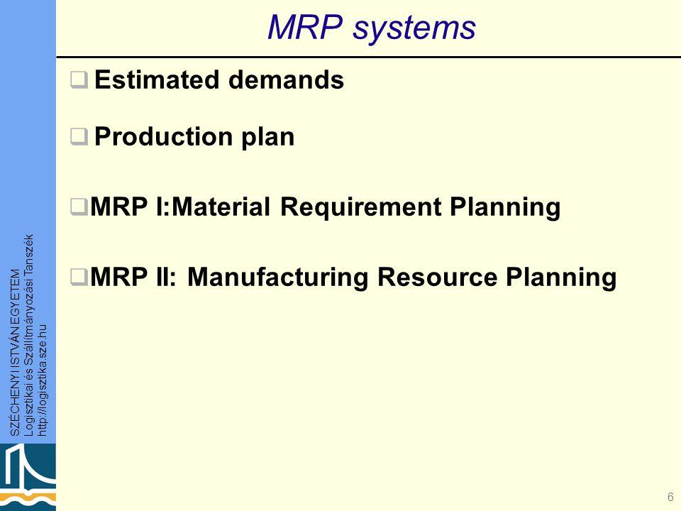 SZÉCHENYI ISTVÁN EGYETEM Logisztikai és Szállítmányozási Tanszék http://logisztika.sze.hu 6 MRP systems  Estimated demands  Production plan  MRP I:Material Requirement Planning  MRP II: Manufacturing Resource Planning