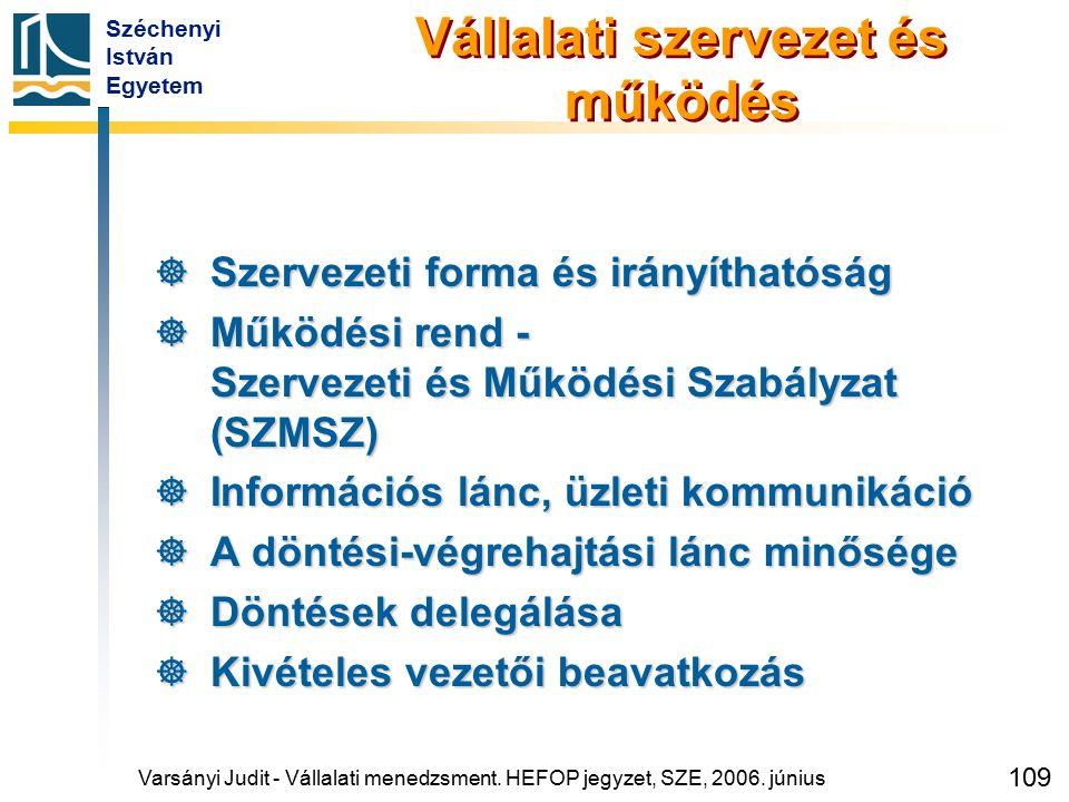 Széchenyi István Egyetem 109 Vállalati szervezet és működés  Szervezeti forma és irányíthatóság  Működési rend - Szervezeti és Működési Szabályzat (