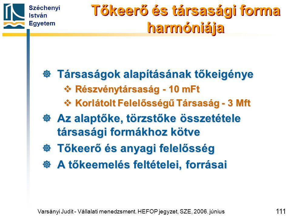 Széchenyi István Egyetem 111 Tőkeerő és társasági forma harmóniája  Társaságok alapításának tőkeigénye  Részvénytársaság - 10 mFt  Korlátolt Felelő