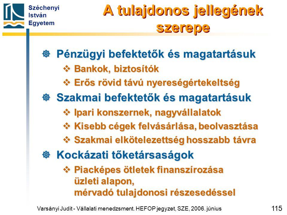 Széchenyi István Egyetem 115 A tulajdonos jellegének szerepe  Pénzügyi befektetők és magatartásuk  Bankok, biztosítók  Erős rövid távú nyereségérte