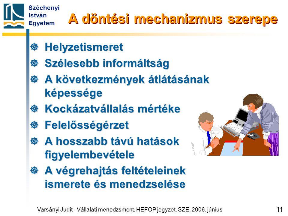 Széchenyi István Egyetem 11 A döntési mechanizmus szerepe  Helyzetismeret  Szélesebb informáltság  A következmények átlátásának képessége  Kockáza