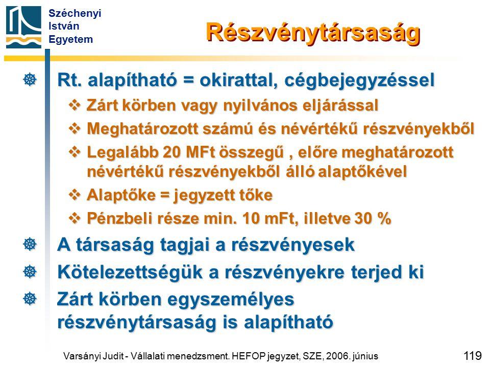 Széchenyi István Egyetem 119 Részvénytársaság  Rt. alapítható = okirattal, cégbejegyzéssel  Zárt körben vagy nyilvános eljárással  Meghatározott sz