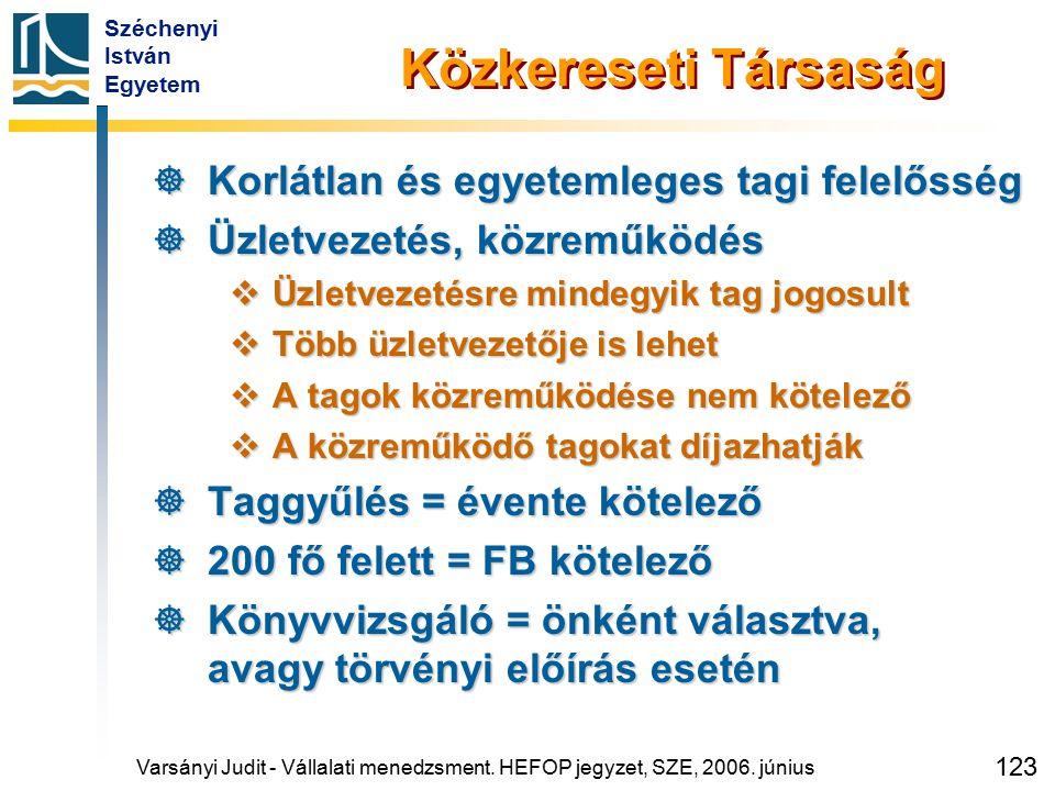 Széchenyi István Egyetem 123 Varsányi Judit - Vállalati menedzsment. HEFOP jegyzet, SZE, 2006. június Közkereseti Társaság  Korlátlan és egyetemleges