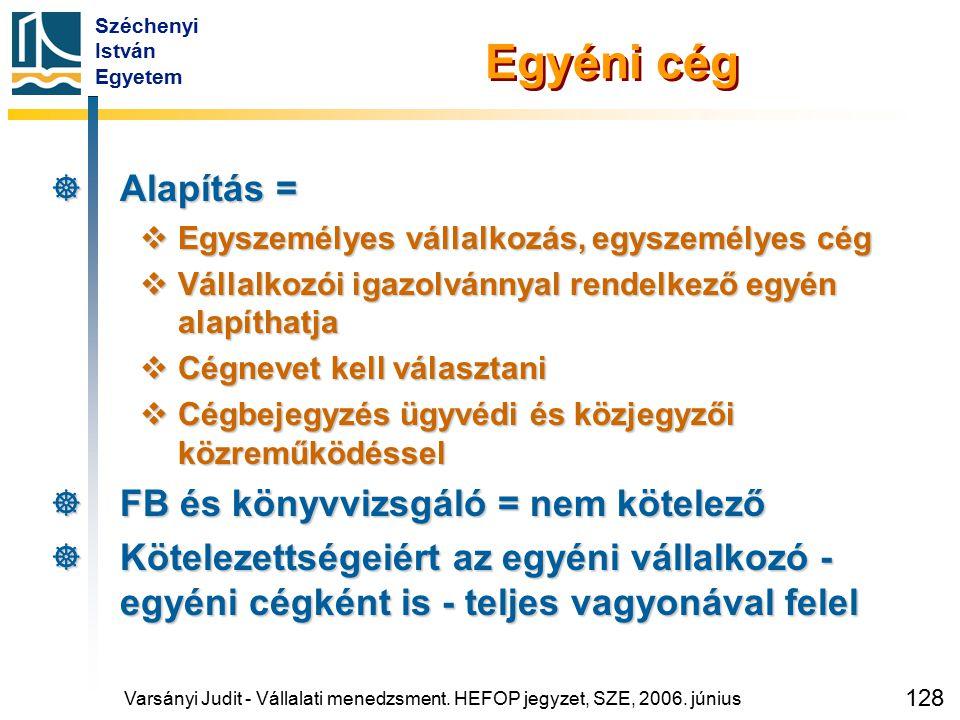 Széchenyi István Egyetem 128 Varsányi Judit - Vállalati menedzsment. HEFOP jegyzet, SZE, 2006. június Egyéni cég  Alapítás =  Egyszemélyes vállalkoz