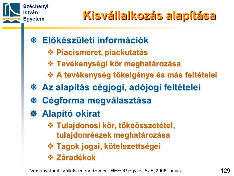 Széchenyi István Egyetem 129 Kisvállalkozás alapítása  Előkészületi információk  Piacismeret, piackutatás  Tevékenységi kör meghatározása  A tevék