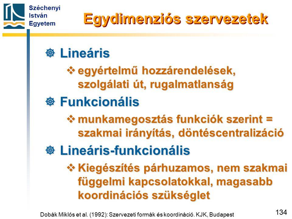 Széchenyi István Egyetem 134 Egydimenziós szervezetek  Lineáris  egyértelmű hozzárendelések, szolgálati út, rugalmatlanság  Funkcionális  munkameg