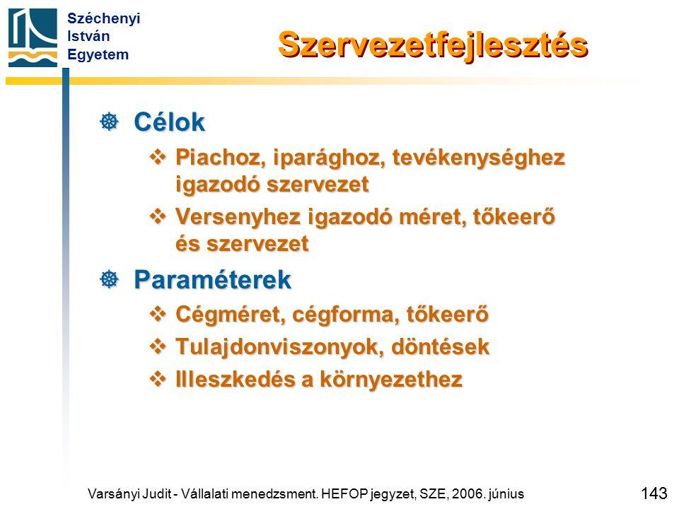 Széchenyi István Egyetem 143 Szervezetfejlesztés  Célok  Piachoz, iparághoz, tevékenységhez igazodó szervezet  Versenyhez igazodó méret, tőkeerő és