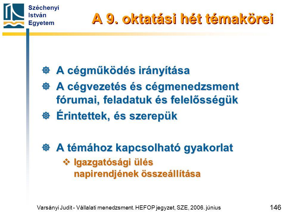 Széchenyi István Egyetem 146 A 9. oktatási hét témakörei  A cégműködés irányítása  A cégvezetés és cégmenedzsment fórumai, feladatuk és felelősségük