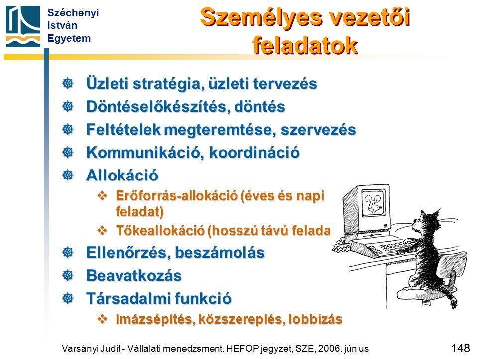 Széchenyi István Egyetem 148 Személyes vezetői feladatok  Üzleti stratégia, üzleti tervezés  Döntéselőkészítés, döntés  Feltételek megteremtése, sz