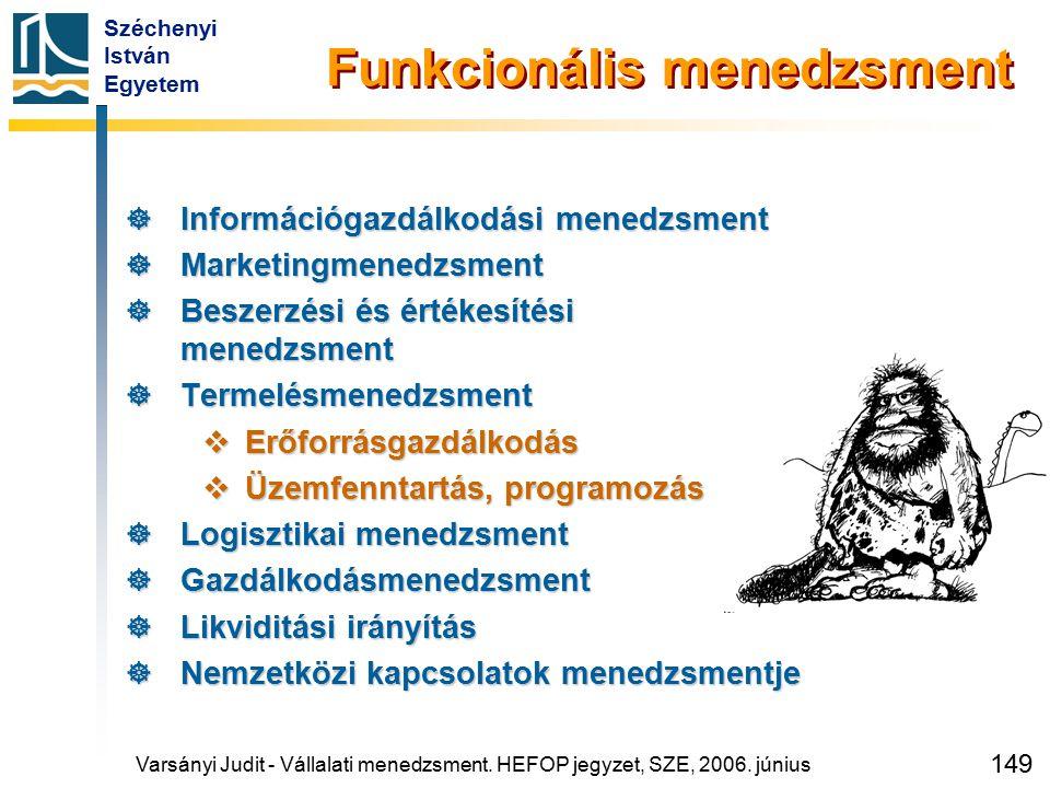 Széchenyi István Egyetem 149 Varsányi Judit - Vállalati menedzsment. HEFOP jegyzet, SZE, 2006. június Funkcionális menedzsment  Információgazdálkodás