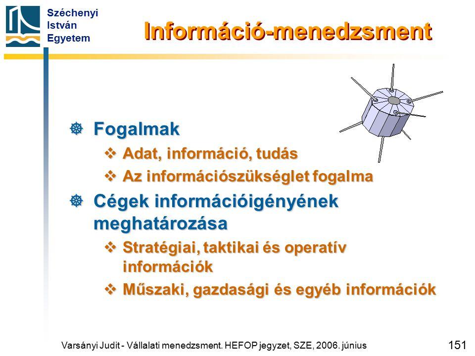 Széchenyi István Egyetem 151 Információ-menedzsment  Fogalmak  Adat, információ, tudás  Az információszükséglet fogalma  Cégek információigényének
