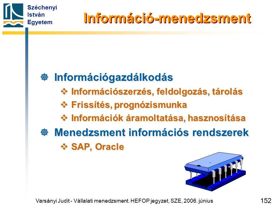 Széchenyi István Egyetem 152 Információ-menedzsment  Információgazdálkodás  Információszerzés, feldolgozás, tárolás  Frissítés, prognózismunka  In