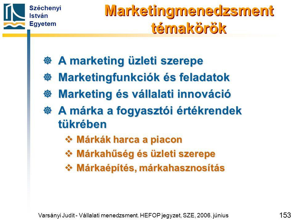 Széchenyi István Egyetem 153 Marketingmenedzsment témakörök  A marketing üzleti szerepe  Marketingfunkciók és feladatok  Marketing és vállalati inn