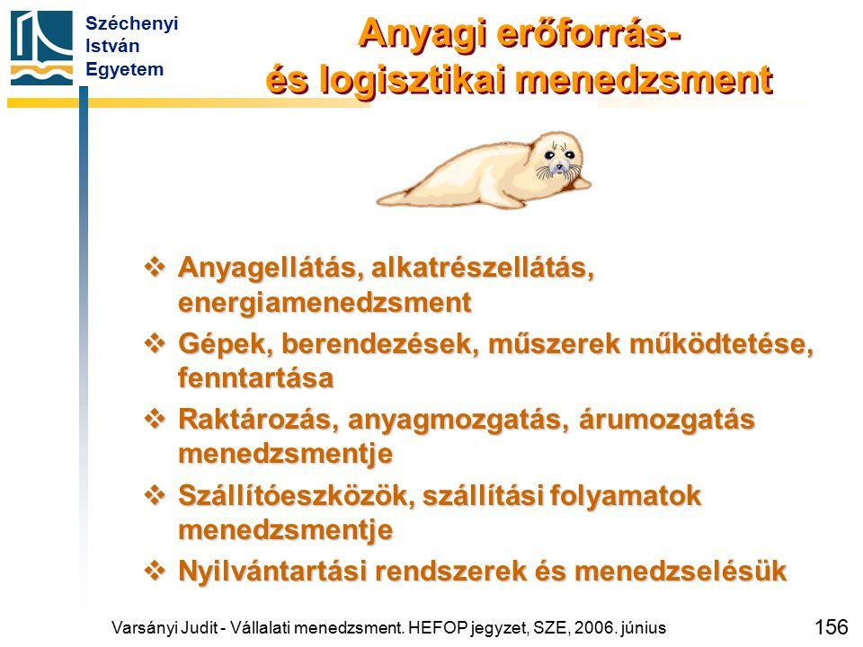 Széchenyi István Egyetem 156 Anyagi erőforrás- és logisztikai menedzsment  Anyagellátás, alkatrészellátás, energiamenedzsment  Gépek, berendezések,