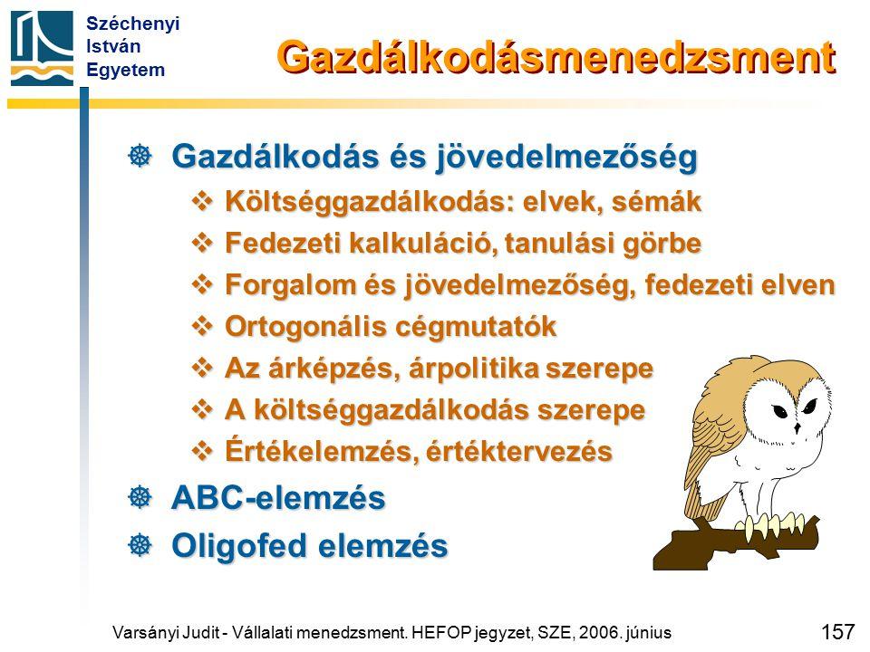 Széchenyi István Egyetem 157 Gazdálkodásmenedzsment  Gazdálkodás és jövedelmezőség  Költséggazdálkodás: elvek, sémák  Fedezeti kalkuláció, tanulási