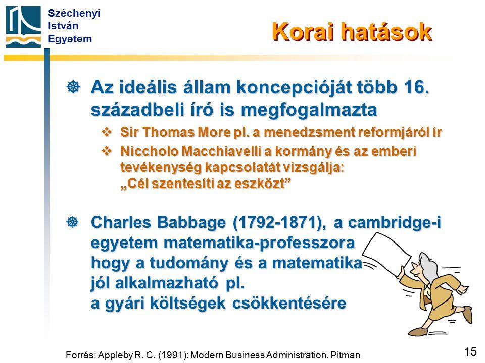 Széchenyi István Egyetem 15 Forrás: Appleby R. C. (1991): Modern Business Administration. Pitman Korai hatások  Az ideális állam koncepcióját több 16